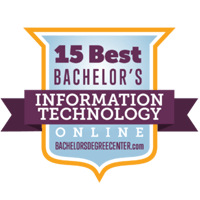 15 BEST ONLINE INFORMATION TECHNOLOGY DEGREE BACHELOR'S PROGRAMS badge