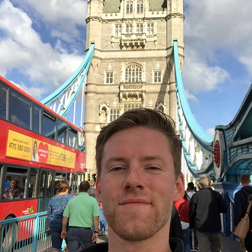 Maxwell Corner takes a selfie on London Bridge while studying abroad at the University of Westminster last fall.