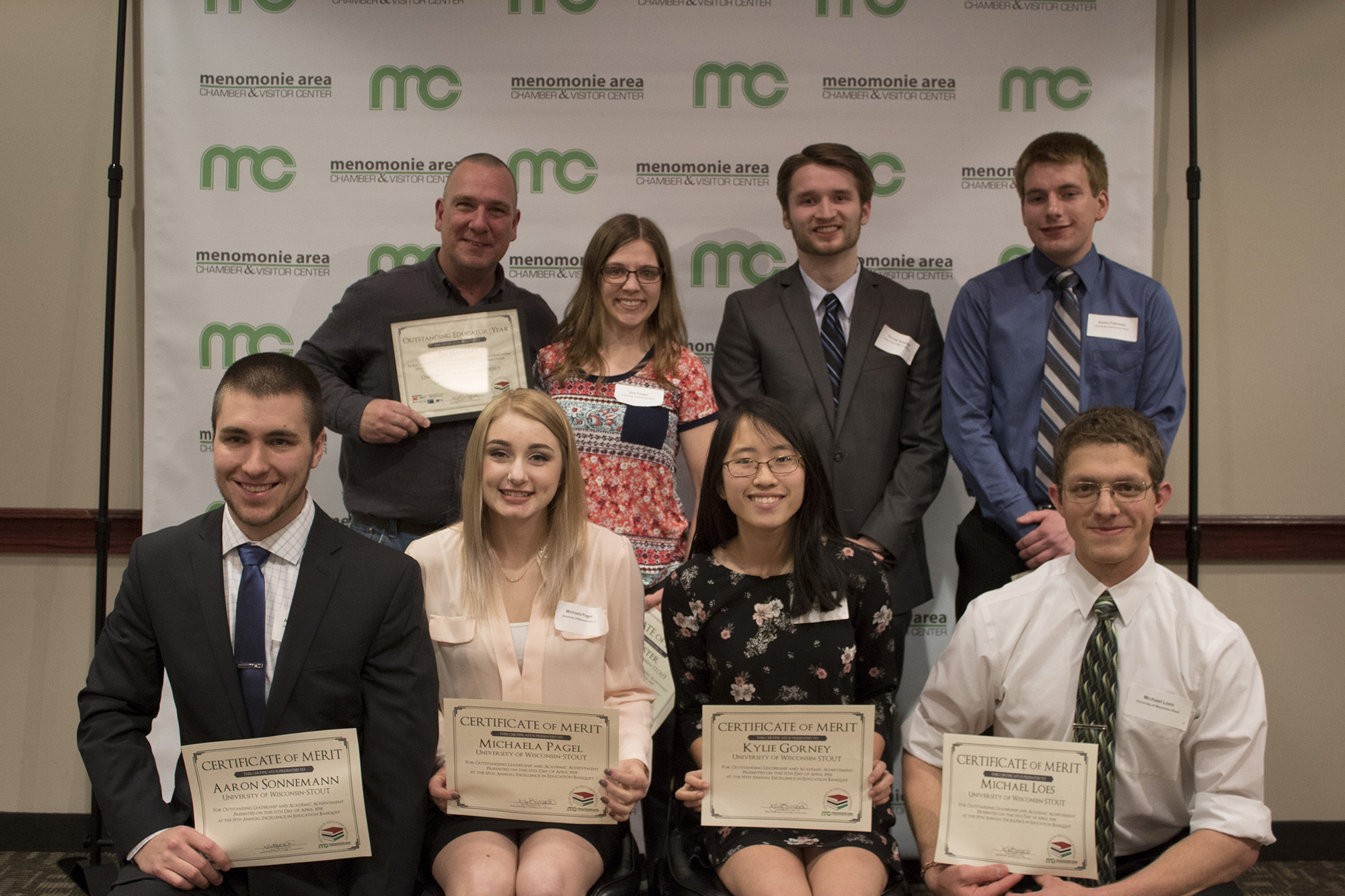 UW-Stout honorees at the Menomonie Greater Menomonie Area Chamber of Commerce Excellence in Education banquet.