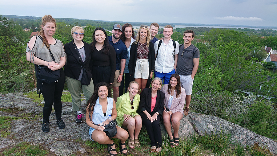 Mary Spaeth, front row second from right, led the Arts and Innovation class in May in Sweden with 12 UW-Stout students.