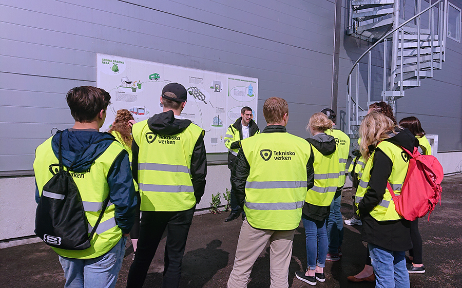 UW-Stout students learn about turning trash into energy at the Tekniska Verken utility company in Linkoping, Sweden, during their study abroad trip last spring.
