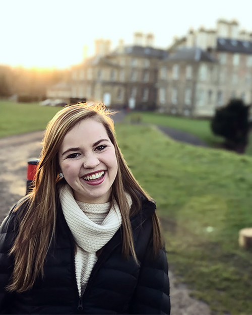 "Abby Fawcett said studying at Scotland's Dalkeith House, background, and studying abroad ""changed me as an individual."""