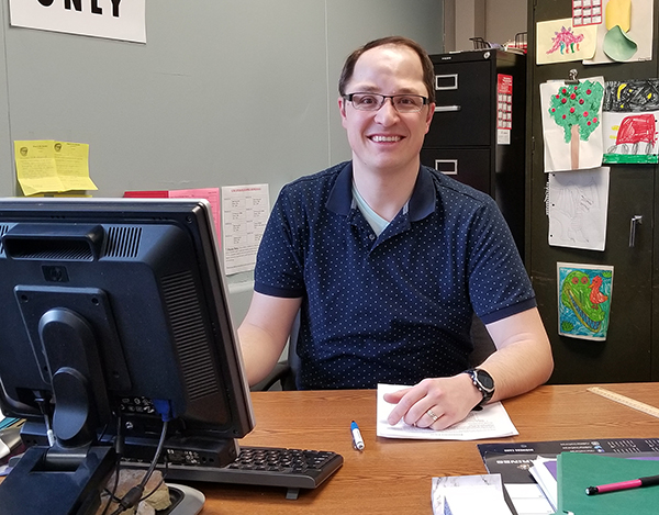 Nick Grunseth has switched careers from TV meteorologist in Eau Claire to special education teacher at Chippewa Falls Senior High School, thanks to an alternative certification program at UW-Stout.
