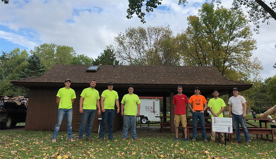 UW-Stout Student Construction Association members installed a new roof last fall at the Elmwood Park pavilion in Menomonie.