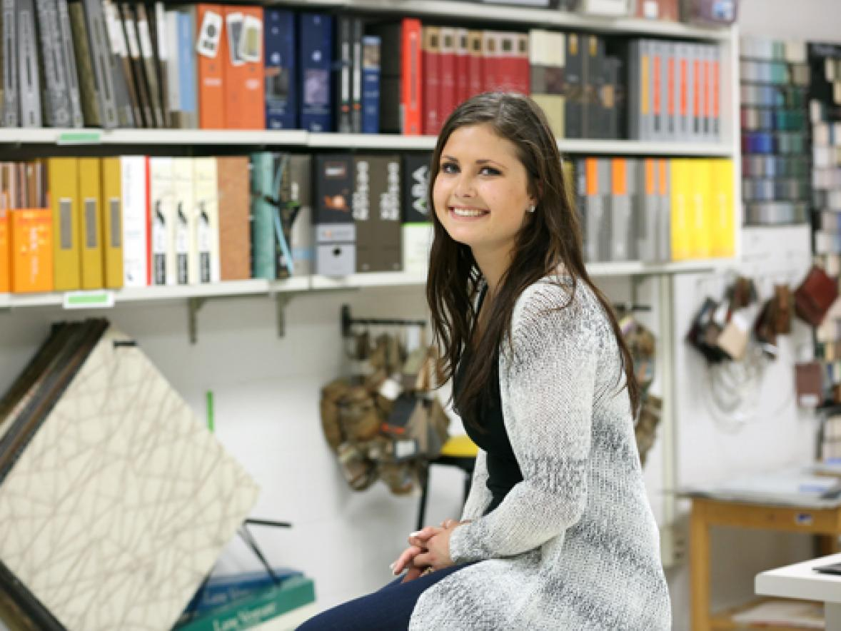 Savanah Colestock works in an interior design studio at UW-Stout.