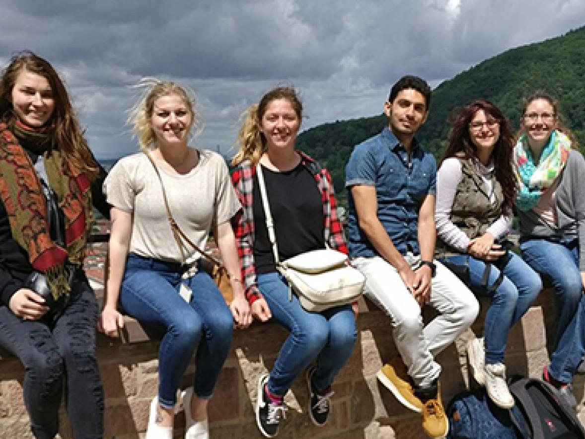 UW-Stout students meet with Ahmad Dallal, a refugee from Syria,  during a study abroad trip to Germany. From left are Alex Pasquale,  Jacqueline Barba, Macy Helgeson, Shannon Sawatzki and Kylie Bowman