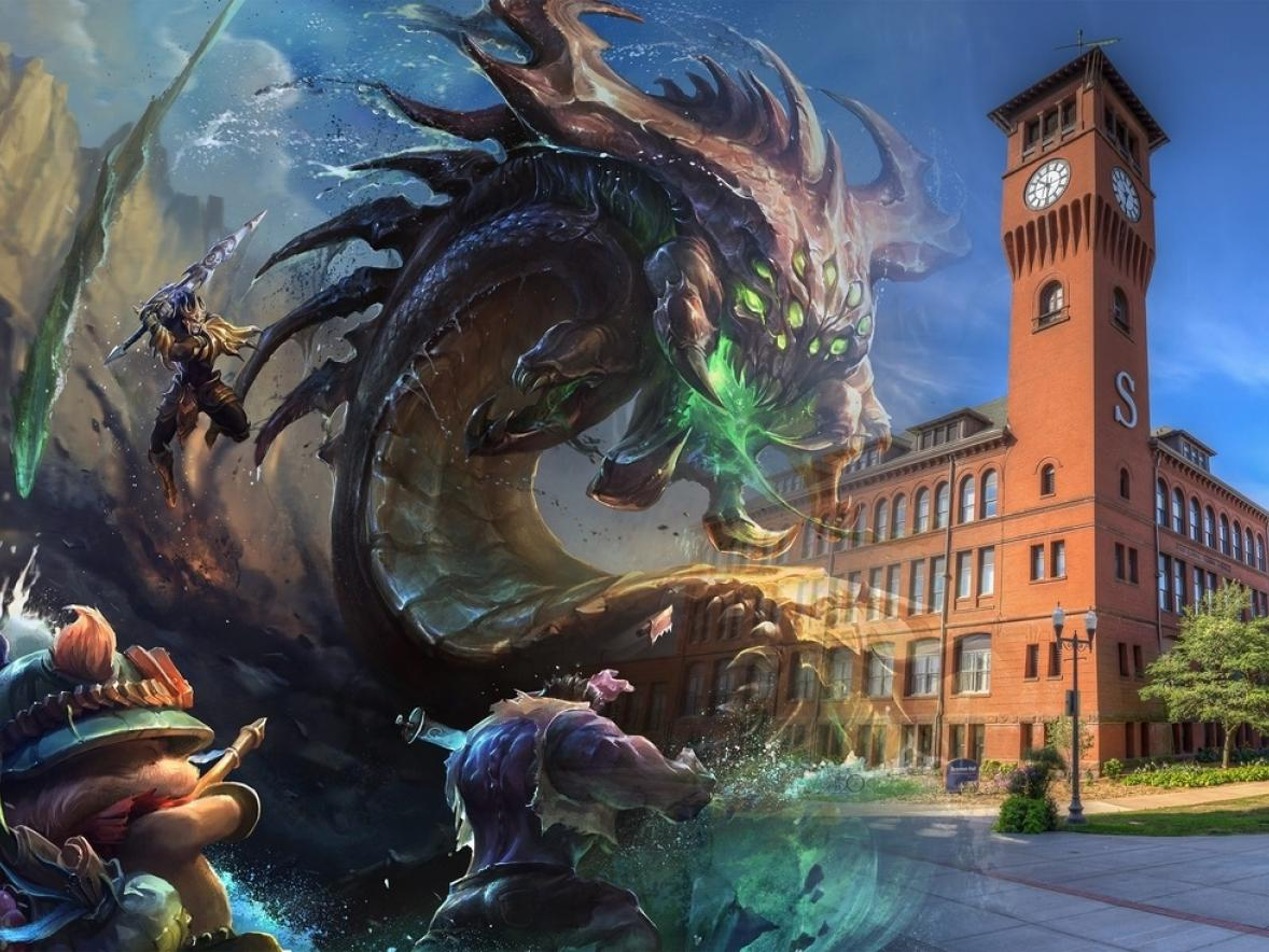 Riot Game's League of Legends artwork superimposed over Bowman Hall.