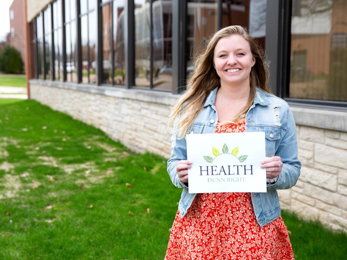 UW-Stout student Megan Hultgren created the logo for the Health Dunn Right coalition. / UW-Stout photo by Chris Cooper