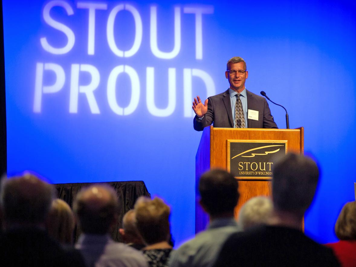 UW-Stout alumnus Craig Yolitz speaks at the Polytechnic Summit about the need for businesses and higher education to collaborate.