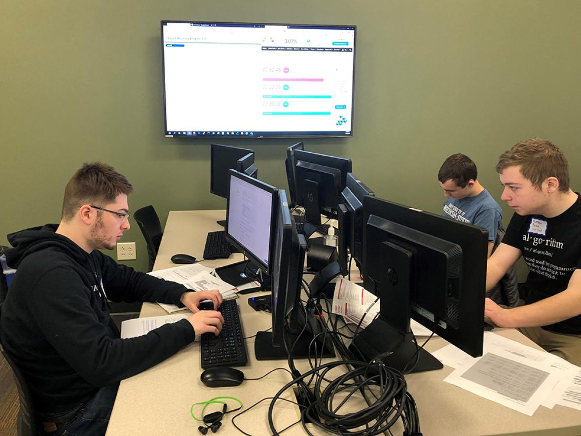 UW-Stout members of the Collegiate Cyber Defense Competition team participate in the state competition on Feb. 1 in Madison. The team took first in the state and moves on to the regional competition March 14.