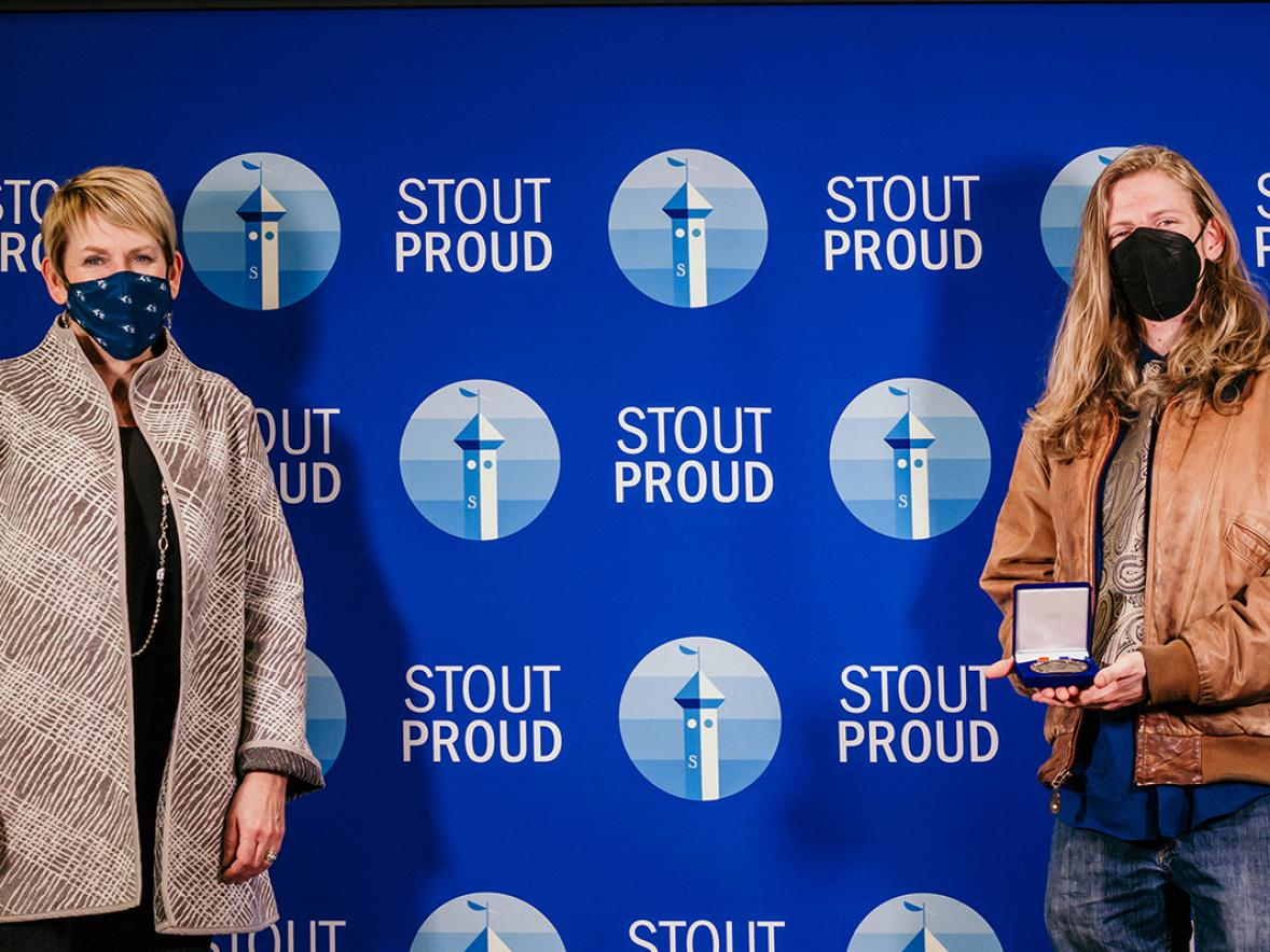 Chancellor Katherine Frank, at left, pictured with Chris Johnson, an Outstanding Student Leader of the Year winner. / Photo by UW-Stout Involvement Center