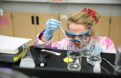 Molly Roettger, ABMB student in the lab