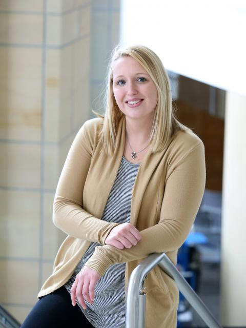 Supply chain management graduate Destiny Vojtik, pictured in the MSC stairwell.